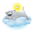 Cartoon cat lying on a cloud gray sun Royalty Free Stock Photography