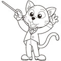 Cartoon cat music conductor black white Royalty Free Stock Photos