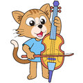 Cartoon cat playing a cello Stock Photos
