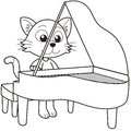 Cartoon cat playing piano black white Stock Photography