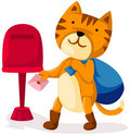 Cartoon cat sending love letter Stock Images