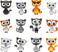 Cartoon cat set vector illustration of separate layers for easy editing Stock Images