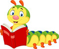 Cartoon caterpillar reading book Royalty Free Stock Photo