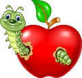 Cartoon caterpillars eat the red apple illustration of on white background Royalty Free Stock Photo