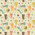 Cartoon cats bird and toys on a bright background seamless pattern can be used for wallpapers pattern fills web page backgrounds Royalty Free Stock Images