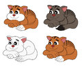 Cartoon cats collection illustration cute lazy fat resting ginger brown and white kittens isolated on a white background Royalty Free Stock Images