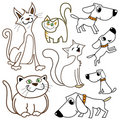 Cartoon cats and dogs Royalty Free Stock Photo