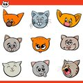 Cartoon cats and kittens heads set