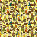 Cartoon Caveman seamless pattern Stock Photo