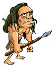 Cartoon caveman with a spear isolated on white Stock Images