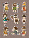 Cartoon Caveman stickers Royalty Free Stock Photo