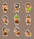 Cartoon Caveman stickers Stock Photos
