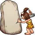 Cartoon cave woman writing on stone