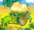 Cartoon chameleon with continent map