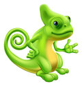Cartoon chameleon illustration of a lizard character standing and showing something with their hand Royalty Free Stock Images