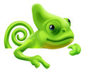 Cartoon chameleon pointing down an illustration of a cute from above a sign or banner Royalty Free Stock Images