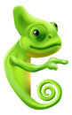 Cartoon chameleon pointing an illustration of a cute round a sign or banner Stock Photos