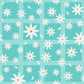 Cartoon chamomiles and petals. Floral elements scattered on a checkered background. Seamless pattern.