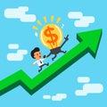 Cartoon character big money idea and businessman running on a green arrow Royalty Free Stock Photo