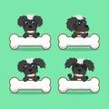 Cartoon character black maltese dog with big bones Royalty Free Stock Photo