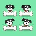 Cartoon character black norfolk terrier dog with big bones Royalty Free Stock Photo