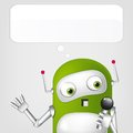 Cartoon character cute robot grey gradient background singing vector eps Royalty Free Stock Image