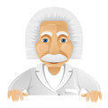 Cartoon character einstein isolated grey gradient background look out vector eps Stock Images