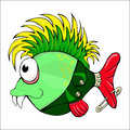 Cartoon character fish punk with a mohawk Royalty Free Stock Images
