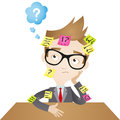 Cartoon character forgetful businessman colorful vector illustration of a clueless business sitting at his desk with sticky notes Stock Photos
