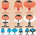 Before and after cartoon character getting fit character is in different color versions no transparency gradients used Royalty Free Stock Photos