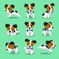 Cartoon character jack russell terrier dog set