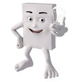 Cartoon character with light bulb Royalty Free Stock Images
