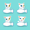 Cartoon character Odd-eyed cat with big fish sign Royalty Free Stock Photo