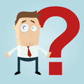 Cartoon character puzzled man next to big red question mark Royalty Free Stock Photos