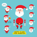 Cartoon character Santa Claus in various positions in flat style. Constructor for any poses. Elements for animation.