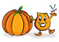 Cartoon character - with treets and big pumpkin Stock Photography