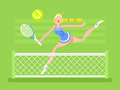 Cartoon character woman tennis player Royalty Free Stock Photo
