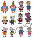Cartoon characters colorful felt and wool quiltting Stock Photo