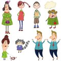 Cartoon characters colorful graphic illustration for children Stock Image