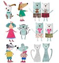 Cartoon characters colorful graphic illustration quilt design Royalty Free Stock Photography