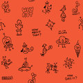 Cartoon characters doodle seamless pattern