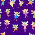 Cartoon Characters Fairies Seamless Pattern Background. Vector