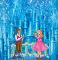 Cartoon Characters Gerda and Kai for fairy tale Snow Queen written by Hans Christian Andersen
