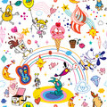 Cartoon characters seamless pattern