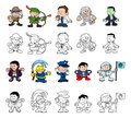 Cartoon characters set a of people or children playing dress up color and black and white outline versions Stock Photos
