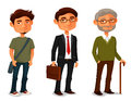 Cartoon characters showing age progress a young boy adult businessman and senior man Royalty Free Stock Photo