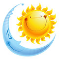 Cartoon characters sun and moon day and night concept shining yellow smiling sleeping blue character a balance harmony icon of Stock Photos