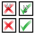 Cartoon check marks with faces Royalty Free Stock Photography