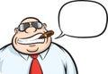 Cartoon cheerful boss with speech bubble