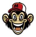 Cartoon of cheerful monkey face Royalty Free Stock Photo